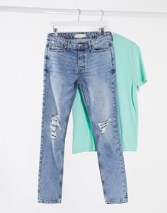 Светлые выбеленные зауженные эластичные джинсы с рваной отделкой из смесового органического хлопка Topman-Голубой