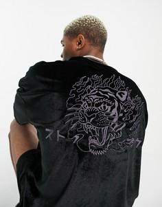 Черная велюровая футболка в стиле oversized с принтом огненного тигра ASOS DESIGN-Черный цвет