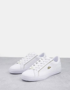 Кожаные кроссовки белого и золотистого цветов Lacoste Lerond-Белый