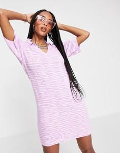 Трикотажное платье мини розового цвета с открытым воротником из пряжи «шенье» ASOS DESIGN-Розовый цвет