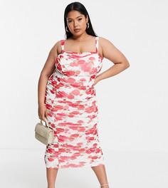 Сетчатое платье на бретелях с цветочным принтом и сборками ASOS DESIGN Curve-Multi