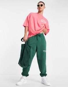Кораллово-розовая oversized-футболка с графическим принтом на груди и спине ASOS Actual Athleisure-Розовый цвет