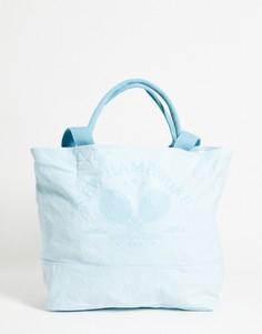 Голубая сумка-тоут в стиле oversized из плотного органического хлопка с ручкой идлинным ремешком ASOS DESIGN-Голубой