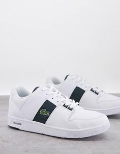 Белые кроссовки с зелеными полосками Lacoste Thrill-Белый