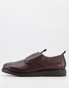 Бордовые кожаные туфли на шнуровке H by Hudson-Красный