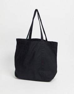 Черная большая сумка-тоут из органического хлопка ASOS DESIGN-Черный цвет