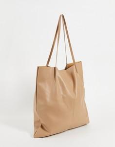 Светло-бежевая сумка-тоут из искусственной кожи ASOS DESIGN-Светло-бежевый цвет