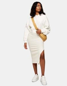Кремовая пушистая юбка миди в рубчик Topshop-Белый