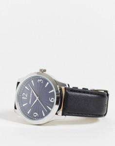 Классические часы ссиним циферблатом и черным ремешком ASOS DESIGN-Черный цвет
