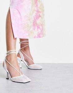 Белые сетчатые туфли с ремешком через пятку Topshop Flash-Белый