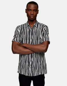 Черная рубашка в полоску с короткими рукавами Topman-Черный цвет