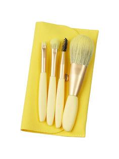 Набор кистей ZOREYA для макияжа 4 шт. (жёлтый)