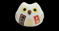 Сувенир Манэки Сова 5см, ручная работа, белая (made in Japan), Hatamoto Japan, MS-02