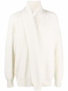 Alexander McQueen джемпер в рубчик с шарфом