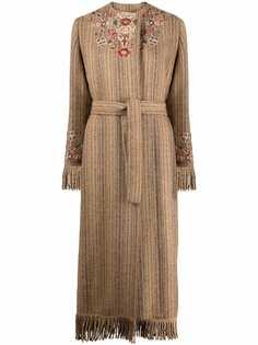 Etro длинное пальто с вышивкой