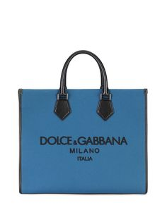 Dolce & Gabbana сумка-тоут из канваса с вышитым логотипом