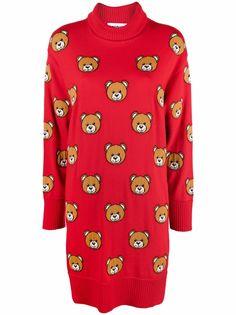 Moschino платье с высоким воротником и вышивкой Teddy