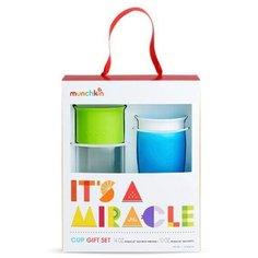Чашка Munchkin Подарочный набор Miracle Поильник-непроливайка 360° 296 мл и 414 мл, набор 2 шт., голубой/зеленый