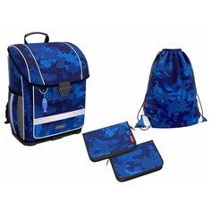 Ученический ранец с пластиковым дном ErichKrause® ErgoLine® 16L Sea Camo с наполнением