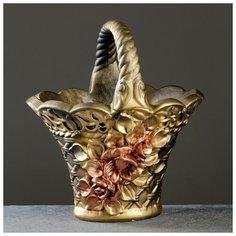 """Фигурное кашпо """"Корзина с цветами"""" бронза, 38х25см 5800601 Хорошие сувениры"""