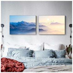 """Комплект картин (2шт по 40х60см) в спальню/гостиную/зал """"Горная дымка"""", хлопковый холст на подрамнике, общий размер 40х120см КартинуМне!"""
