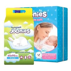 Joonies подгузники Premium Soft NB (0-5 кг) 24 шт + пелёнки 60x90 10 шт.