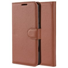 Чехол портмоне подставка на силиконовой основе с отсеком для карт для Samsung Galaxy A41 коричневый 100gadgets