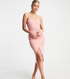 Розовое платье-бандо миди с запахом и сборками ASOS DESIGN Tall-Розовый цвет