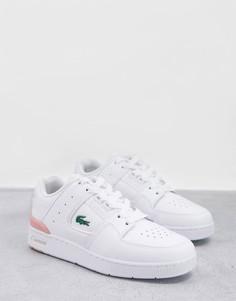 Бело-розовые кожаные кроссовки Lacoste Court Cage-Белый