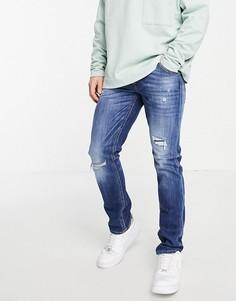 Темно-синие узкие джинсы с рваной отделкой Jack & Jones Intelligence Glenn-Голубой
