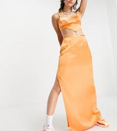 Оранжевая юбка макси от комплекта в стиле 90-х COLLUSION-Оранжевый цвет