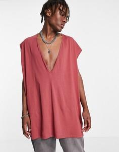 Oversized-майка с глубоким V-образным вырезом бордового цвета ASOS DESIGN-Красный