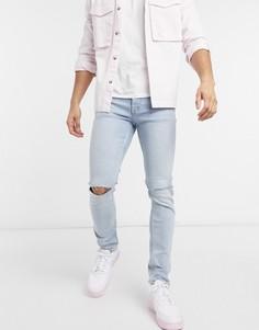 Выбеленные зауженные эластичные джинсы с рваной отделкой на коленях из смесового органического хлопка Topman-Голубой