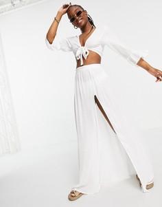 Топ с завязкой спереди и юбка макси с высоким разрезом South Beach-Белый