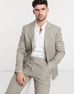 Бежевый однобортный пиджак узкого кроя Topman-Коричневый цвет