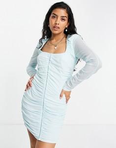 Нежно-голубое сетчатое платье мини с длинными рукавами и сборками ASOS DESIGN-Белый