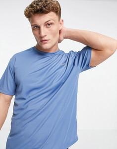 Спортивная футболка свободного кроя из быстросохнущей ткани синего цвета ASOS 4505-Голубой