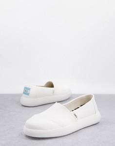 Эксклюзивные экологичные туфли из белой парусины на плоской подошве TOMS Exclusive Alpagarta Mallow Eartwhise-Белый