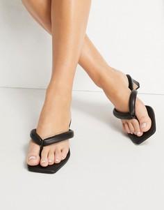 Черные кожаные босоножки на каблуке с мягкими ремешками & Other Stories-Черный цвет
