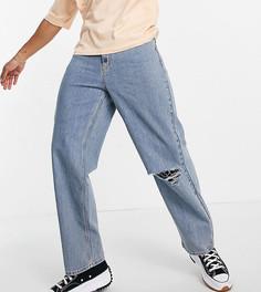 Голубые выбеленные широкие джинсы в стиле 90-х с рваной отделкой COLLUSION x014-Голубой
