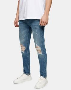 Выбеленные эластичные джинсы зауженного кроя с рваной отделкой из смесового органического хлопка Topman-Голубой