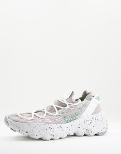 Кроссовки серого и неоново-зеленого цветов Nike Space Hippie 04 MOVE TO ZERO-Серый