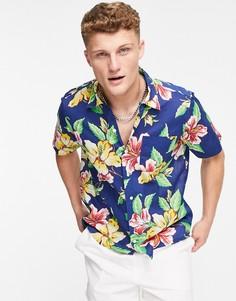Разноцветная рубашка с короткими рукавами, кубинским отложным воротником и винтажным принтом цветов гибискуса Polo Ralph Lauren-Разноцветный