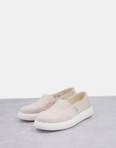 Эксклюзивные туфли из бежевой экологичной парусины на плоской подошве TOMS Alpagarta Mallow Earthwhise-Светло-бежевый цвет