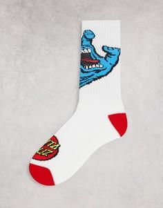 Белые носки с принтом «кричащая рука» Santa Cruz-Белый