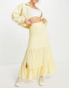 Ярусная юбка мидакси с мелким цветочным принтом от комплекта Lost Ink-Желтый