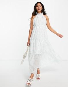 Платье мидакси с американской проймой, ярусной юбкой и цветочным принтом Lost Ink-Белый