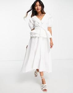 Поплиновое платье миди с винтажным воротником и пышной юбкой Lost Ink-Белый