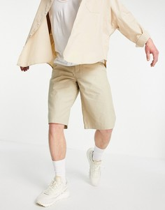 Светло-бежевые удлиненные шорты из смесового органического хлопка Topman-Светло-бежевый