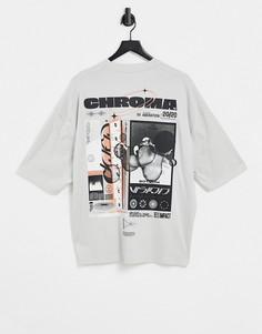 Серая oversized-футболка из органического хлопка с принтом на спине ASOS DESIGN-Серый